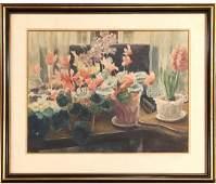 Bertram Hartman American Watercolor Still Life Signed