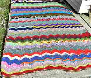 Colorful Antique Crocheted Coverlet