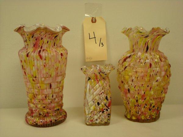 4: THREE SPATTERWARE ART GLASS VASES
