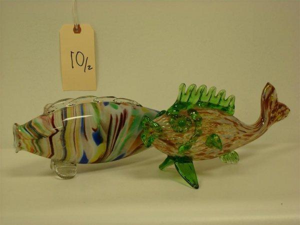 10: TWO VENETIAN GLASS FISH