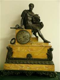 197A: 19TH C. FRENCH BRONZE & MARBLE CLOCK