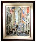 Kamil Kubik Original Serigraph  Wall Street NYC