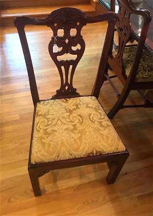 Set of Chippendale Style Mahogany Dining Chairs ( 10)