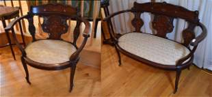 Victorian Mahogany Marquetry Settee & Chair