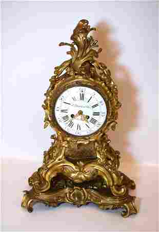 19th C. Ornate French Bronze Mantle Clock