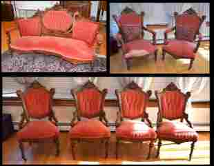 Victorian 7 Pc Parlor Suite attr to Jeliff