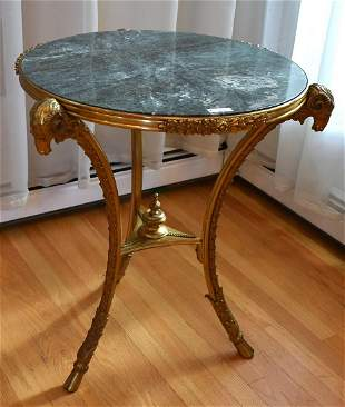 Unusual Bronze and Marble Top Table Rams Heads.