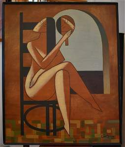 Russian Oil. Cubism. Seated Woman. Sgd.
