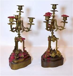 Pr. French Bronze Candleabra