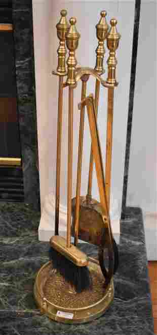 Brass Fireplace Tools in Holder