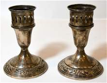 Sterling Silver Candlesticks & 2 Coasters