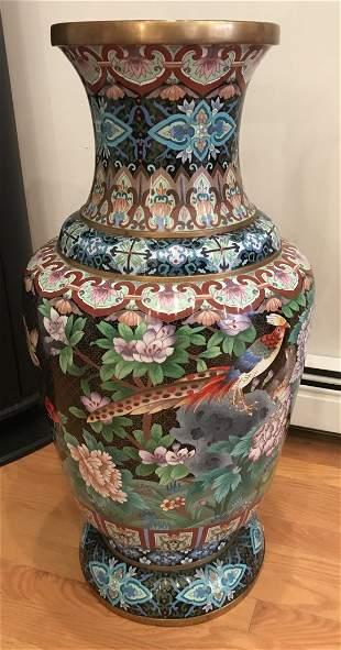 Lg. 20th C Chinese Cloisonné Vase