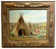 Joseph H. Sharp; American Oil Indian Encampment Signed