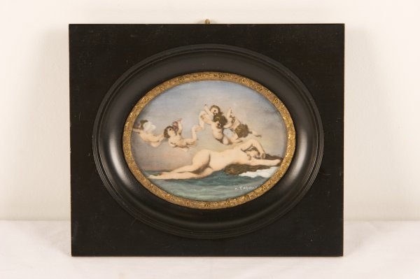19TH C. MINIATURE HAND COLORED PRINT