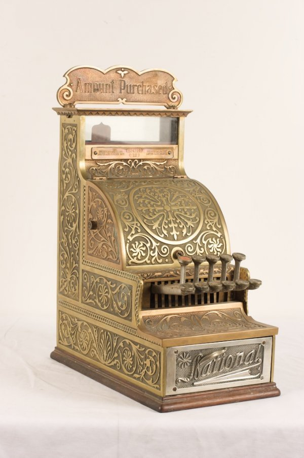 NATIONAL BRASS AND OAK CASH REGISTER