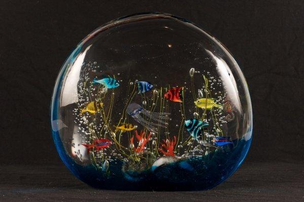 BARBINI ITALIAN ART GLASS AQUARIUM  SIGNED