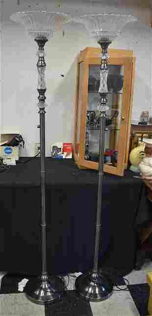 Pr. Silver-toned Floor Lamps