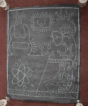 Keith Haring Subway Chalk Drawing.