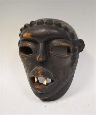 African Carved Mask with Teeth