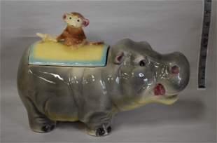 Rare Brush :Laughing Hippo Cookie Jar