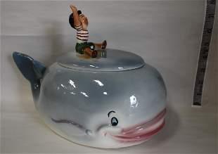 Rare Starnes Pinocchio on a Whale Cookie Jar