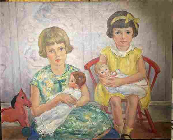 Marion Huse; American Oil Young Girls with Dolls Signed