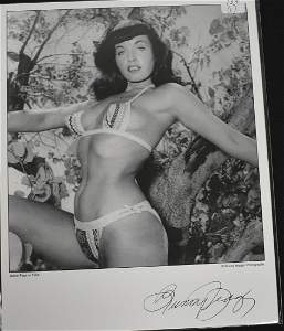 Model Bettie Page Photo Sign.
