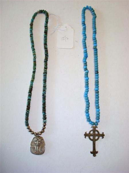 TWO TURQUOISE BEAD NECKLACES