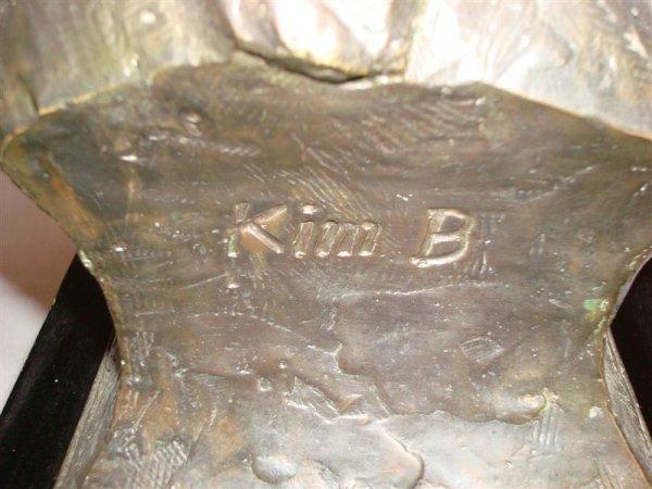 KIM B; BRONZE INDIAN SCULPTURE SIGNED - 4