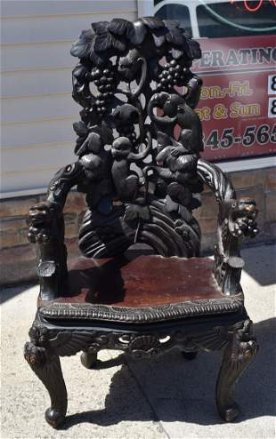 19th C. Asian Armchair with Monkeys