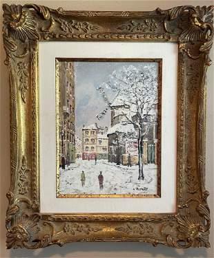 Louis Peyrat; 20thC. French Oil Montmarte in Winter