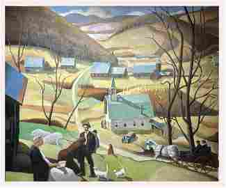 Paul Sample(Attributed to); 20thC. Oil Vermont Panorama