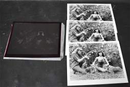(3) Photos Of Bunny Yeager & Bettie Page With Negative.