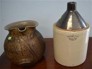Stoneware Jug & Drip Glaze Pitcher