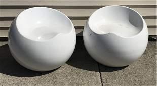 "Pr. MCM ""Egg Shell"" Chairs"