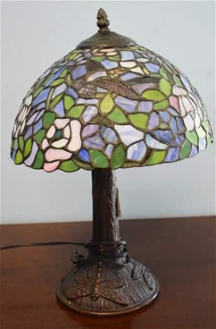 Tiffany Style Lamp. Hummingbird Shade