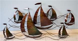Metal Wall Sculpture-Ships