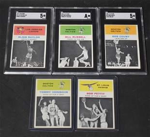1961 Fleer Basketball Lot. Five Hall of Famers