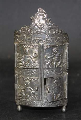 Sterling Silver Miniature Four Door Cabinet
