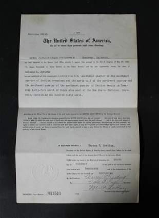 Warren Harding Presidential Signature in Ink