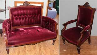 Victorian Parlor Set Settee and Chair