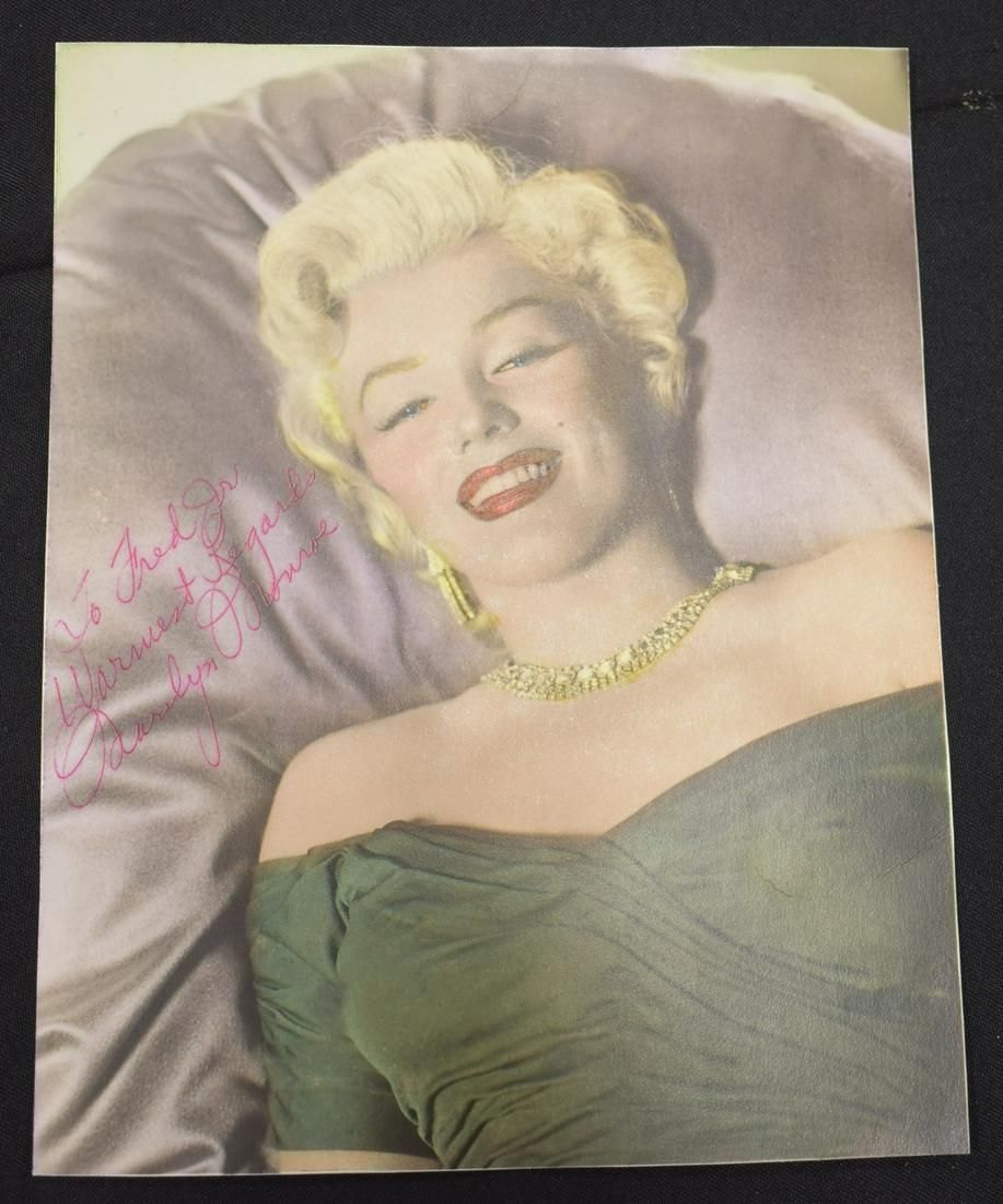 Marilyn Monroe 1954 Signed Rare Hand Colored Portrait