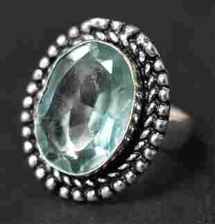 German Silver Ring: Green Amethyst