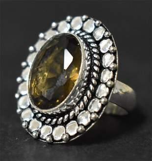 German Silver Ring: Smoky Quartz