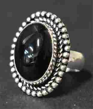 German Silver Ring: Black Onyx