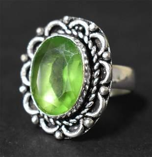 German Silver Ring: Peridot