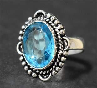 German Silver Ring: Blue Topaz