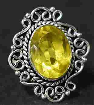 German Silver Ring: Lemon Quartz