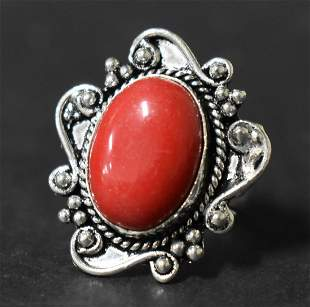 German Silver Ring: Red Coral