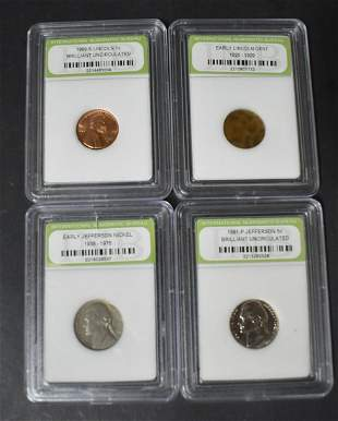 Coin Collectors Lot: Pennies and Nickels (4)